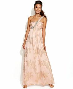 Xscape Embellished One-Shoulder Metallic Gown - Juniors Prom Dresses - Macy's