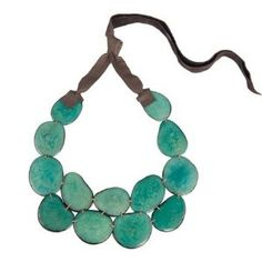Tagua Bib Necklace in Teal, from The Andean Collection