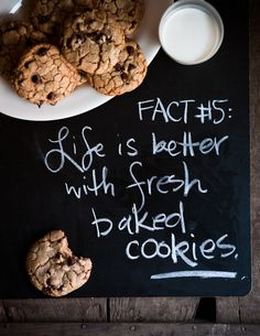 My step daughter loves baking and she always keeps my house happy and smelling amazing with her delicious treats. Life is better with fresh baked cookies! Baking Quotes, Food Quotes, Cookie Quotes, Erma Bombeck, No Bake Cookies, Freshly Baked, Food For Thought, Chocolate Chip Cookies, Dessert Chocolate
