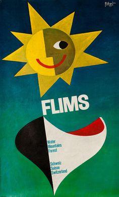 Vintage Posters: Flims - Wald Wasser Berge - Schweiz Suisse Switzerland, 1956 by Piatti, Celestino