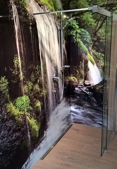 Shower back wall jungle waterfall – Wall Products Ceiling Murals, Floor Murals, Wc Design, House Design, Waterfall Lights, Wall Waterfall, Bathroom Decals, Interior Design Process, Waterfall Design