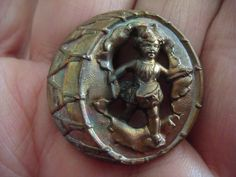 Antique Brass Drummer Boy Busting from Drum Rare Circus Button