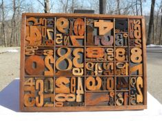 Letterpress Antique Wood Type Numbers Graphic Design / Type Tray Hamilton Handle