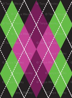 Green and Pink Argyle Pattern {LOVE THESE COLORS}