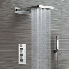 Waterfall & Rainfall Shower Head & Thermostatic Mixer - 3 Way Soak Bathroom Shower Heads, Tiny House Bathroom, Bathroom Design Small, Shower Faucet, Bathroom Interior Design, Modern Bathroom, Cool Shower Heads, Modern Shower Heads, Bathroom Shower Designs