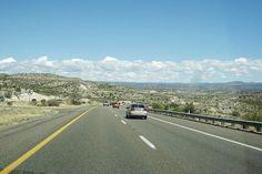 Driving across the Arizona desert on I-40