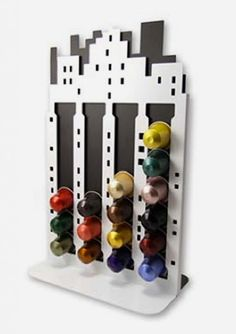 Coffee City Holder by Make My Day. Where the buzz is? Store your coffee pods conveniently in this funky holder, like a stack in the buildings of the city. It can store 20 coffee pods for easy use and decorate your kitchen as well. http://zocko.it/LDFtN
