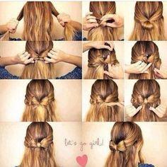Fun hair bow for beautiful hair Step By Step Hairstyles, Pretty Hairstyles, Cute Hairstyles, Style Hairstyle, Ribbon Hairstyle, Woman Hairstyles, Easy Hairstyle, Everyday Hairstyles, Bride Hairstyles
