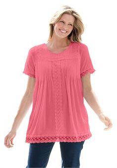 Plus Size Lace-trimmed cotton tunic