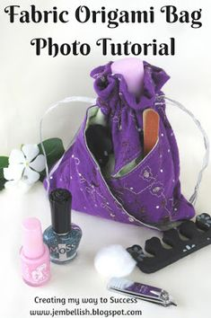 Creating my way to Success: Fabric Origami Bag - photo tutorial Zip Pouch Tutorial, Pencil Case Tutorial, Purse Tutorial, Origami Bag, Fabric Origami, Origami Folding, Sewing Hacks, Sewing Tutorials, Sewing Projects