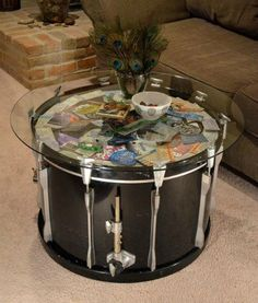 Drum Coffee Table, Drum Table, Glass Table, Drum Chair, Music Furniture, Diy Furniture, Concert Ticket Display, Concert Tickets, Ticket Stubs