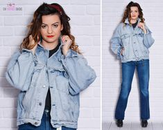 Worn out Jacket Denim Stained Torn Dirty 80s Jean Trucker Jacket Unisex Hipster Washed Light Wash Grunge by SixVintageChicks on Etsy