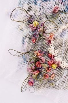 Spring wedding Embroidery by Emily Notman Wedding Embroidery, Hand Embroidery, Embroidery Ideas, Fabric Manipulation Techniques, Textiles Techniques, A Level Textiles, Textiles Sketchbook, Creative Textiles, Sewing Art