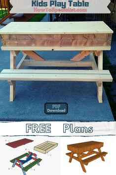 This step by step woodworking project is about sandbox kids picnic table plans. Kids Picnic Table Plans, Wooden Picnic Tables, Kids Play Table, Woodworking Plans, Woodworking Projects, Diy Projects, Rustic Modern, Modern Farmhouse, Build A Sandbox
