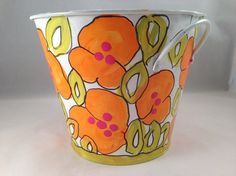 Original, One of a Kind, Hand Painted Flower Pot, Orange Flowers on White