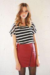 Neon Rose Clothing | Neon Rose Burgundy PU Leather Zip Mini Skirt | ScaryCanary