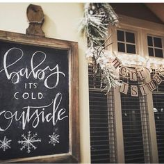 """Baby it's cold outside! How adorable is this hand made chalk sign by @southernbelledecorates ? Speaking of now's the time to """"warm up"""" with your own CHRISTMAS CRATE delivery ---> Order yours now have it in a few days! Tap the link before we sell out Tap the link in our bio."""