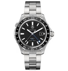 Aquaracer CERAMIC Calibre 7 GMT Automatic Watch   by TAG Heuer - brushed steel case and bracelet with black ceramic bezel and black pinstriped dial