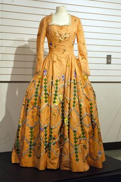 Courtesy of Hayes Presidential Center  This salmon-colored faille gown was designed for Martha Washington.