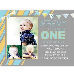 First 1st Birthday Invitations Boy Modern First Year Printable Party.