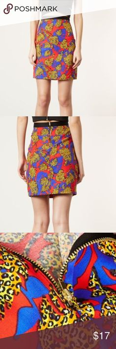 TOPSHOP leopard print leaf skirt Kick up the color with a zesty pencil skirt topped with a contrast waistband. Back zip closure. Unlined. Cotton/viscose rayon. Was used by NBC studios and purchased from their studio lot. Will add more details later and measure the length! Topshop Skirts