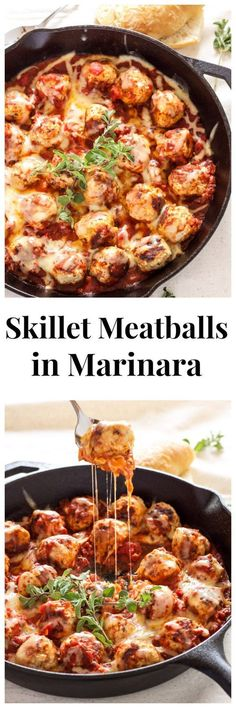 Skillet Meatballs in Marinara | Recipe Runner | Meatballs stuffed with mozzarella and simmered in marinara sauce. An easy one pan meal!