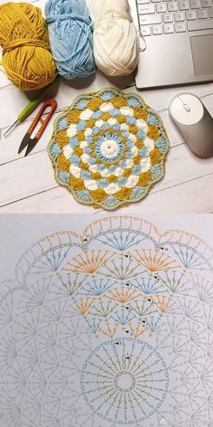 Crochet Coasters Square Yarns Ideas For 2019 Crochet Coaster Pattern, Crochet Mandala Pattern, Crochet Circles, Crochet Motifs, Crochet Diagram, Crochet Chart, Love Crochet, Crochet Granny, Diy Crochet