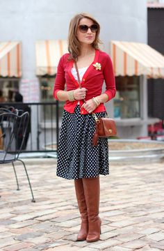 love everything about this outfit: stripes + dots pattern mixing, boots, brown accents | Hello, Framboise!