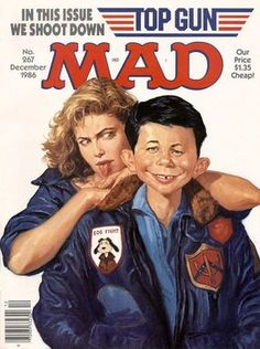 December 1986 issue 267 mad top Gun cover must have comic Vintage Comics, Vintage Books, Vintage Ads, Comic Book Covers, Comic Books, Comic Art, Mad Magazine, Magazine Covers, Time Magazine
