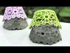 CEMENT IDEAS VERY EASY - Casting Beautiful Flower Pot With Plastic Basket - YouTube Cement Design, Cement Art, Concrete Crafts, Concrete Projects, Concrete Garden, Diy Projects, Diy Cement Planters, Cement Flower Pots, Diy Home Crafts