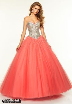 Prom Dresses / Gowns Style 97107: Jeweled Beaded Bodice with Satin Trim on Tulle…