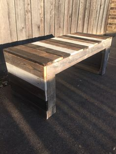The pictured bench is currently available. Details of the bench in the photo: - Great for outside or inside (treated to endure Texas weather) - All of the wood used is from torn down fences and pallet