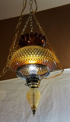 vintage amber hobnail hurricane hanging light lamp swag by gleaned,
