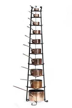 ASSEMBLED SET OF EDWARDIAN COPPER PANS AND WROUGHT IRON STAND EARLY 20TH CENTURY STAND 73CM HIGH; LARGEST PAN 30CM DIAMETER; SMALLES... - SALE 444 - LOT 282 - LYON & TURNBULL