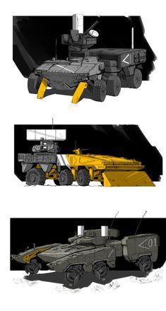 Trucks by StTheo on DeviantArt Army Vehicles, Armored Vehicles, Future Trucks, Futuristic Armour, Science Fiction, Star Wars Droids, Weapon Concept Art, Cyberpunk, Art Et Illustration