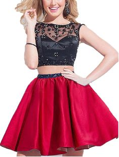 BessDress Short Two Piece Sheer Neck Homecoming Lace Beads Prom Party Gwns BD146 -- Visit the image link more details.