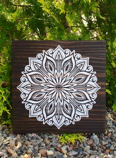Wood Wall Art, Detailed Mandala, Modern Mandala, Painted Mandala, Swirly Mandala, Wooden Wall Décor, Wood Home Décor, Wooden Sign, Nature by parkhillartistry on Etsy