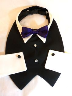 RockinDogs Custom Dog Tuxedo with Bow Tie Collar and Cuffs. Match your wedding colors. Available on Etsy $49.95