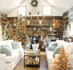 multiple Christmas trees make a big impact - Christmas at Ballard Designs