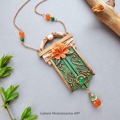Orange Flowers, Flower Necklace, Polymer Clay Jewelry, Carnelian, Wire Wrapping, Handmade Jewelry, Pendant Necklace, Pearls, Bracelets