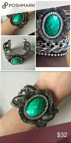 NWT Burnished Silver Boho Cuff Super unique and oversized statement bangle. Layer with other bracelets or wear on its own. OSFA, open back fits to your wrist size. Nickel free! Jewelry Bracelets