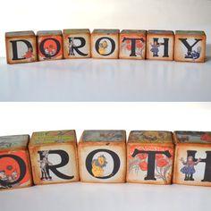 The Wonderful Wizard of Oz Vintage Blocks,  Wizard of Oz Prints, Wooden Blocks, Personalized Custom Blocks, Alice in Wonderland Fantasy