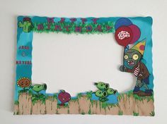 Plants vs Zombies Party Frame Hand painted personalized to customer. By: Party Frames Zombie Birthday Parties, 5th Birthday Party Ideas, Zombie Party, 7th Birthday, Party Themes, Plants Vs Zombies, Plantas Versus Zombies, Party Frame, Plant Zombie