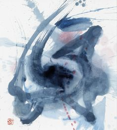 """preciousandfregilethings:  Kazuo Shiraga,""""Ai-e"""" Watercolor on paper, signed and stamped, from 1978"""