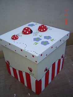 caixa aplique joaninha: