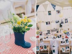 Flowers in Wellington Boots. Table Decorations. Country Devon Wedding. Polaroid Seating Plan   London Alternative Wedding Photography   www.weheartpictures.com