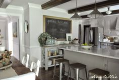 The reasoning for re-painting all the trim in this room (our eat-in-kitchen and family room) white and the doors black pro...