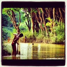 Fishing man in the river of Cambodia