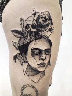 Geometric touches for this great dotwork tattoo by Michele Zingales.