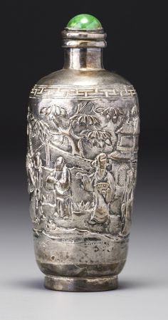 A SILVER 'SCHOLARS IN A GARDEN' SNUFF BOTTLE LATE QING DYNASTY | lot | Sotheby's
